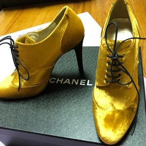 Chanel Lace Up Oxford Heels